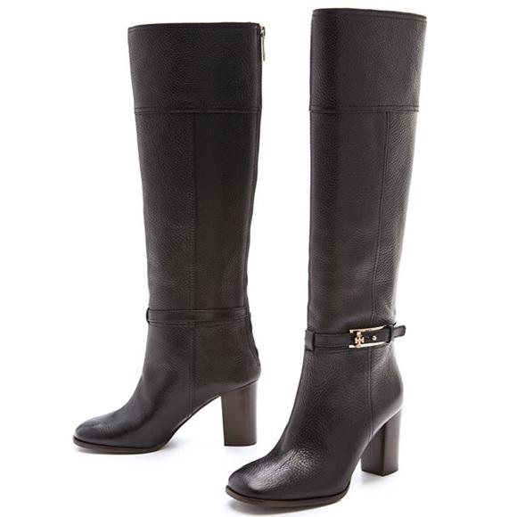 f7c9c856a50c Tory Burch Jenna Leather Mid Heel Boot. M 5b6907ed5a9d214fb4837f91